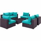 Modway Convene 7 Piece Outdoor Patio Wicker Rattan Sectional Set in Espresso Turquoise MY-EEI-2164-EXP-TRQ-SET