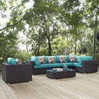 Modway Convene 7 Piece Outdoor Patio Wicker Rattan Sectional Set in Espresso Turquoise MY-EEI-2350-EXP-TRQ-SET