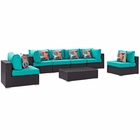 Modway Convene 7 Piece Outdoor Patio Wicker Rattan Sectional Set in Espresso Turquoise MY-EEI-2357-EXP-TRQ-SET