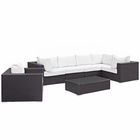 Modway Convene 7 Piece Outdoor Patio Wicker Rattan Sectional Set in Espresso White MY-EEI-2157-EXP-WHI-SET