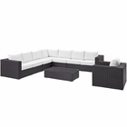 Modway Convene 7 Piece Outdoor Patio Wicker Rattan Sectional Set in Espresso White MY-EEI-2162-EXP-WHI-SET