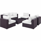 Modway Convene 7 Piece Outdoor Patio Wicker Rattan Sectional Set in Espresso White MY-EEI-2164-EXP-WHI-SET
