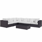 Modway Convene 7 Piece Outdoor Patio Wicker Rattan Sectional Set in Espresso White MY-EEI-2168-EXP-WHI-SET