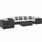 Modway Convene 7 Piece Outdoor Patio Wicker Rattan Sectional Set in Espresso White MY-EEI-2350-EXP-WHI-SET