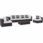 Modway Convene 7 Piece Outdoor Patio Wicker Rattan Sectional Set in Espresso White MY-EEI-2357-EXP-WHI-SET