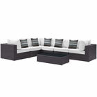Modway Convene 7 Piece Outdoor Patio Wicker Rattan Sectional Set in Espresso White MY-EEI-2361-EXP-WHI-SET