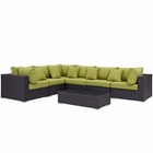 Modway Convene 7 Piece Outdoor Patio Wicker Rattan Sectional Set in Expresso Peridot MY-EEI-2168-EXP-PER-SET
