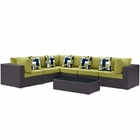 Modway Convene 7 Piece Outdoor Patio Wicker Rattan Sectional Set in Expresso Peridot MY-EEI-2361-EXP-PER-SET