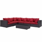 Modway Convene 7 Piece Outdoor Patio Wicker Rattan Sectional Set in Expresso Red MY-EEI-2168-EXP-RED-SET