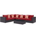 Modway Convene 7 Piece Outdoor Patio Wicker Rattan Sectional Set in Expresso Red MY-EEI-2361-EXP-RED-SET