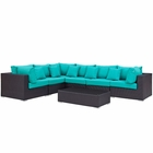 Modway Convene 7 Piece Outdoor Patio Wicker Rattan Sectional Set in Expresso Turquoise MY-EEI-2168-EXP-TRQ-SET
