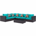 Modway Convene 7 Piece Outdoor Patio Wicker Rattan Sectional Set in Expresso Turquoise MY-EEI-2361-EXP-TRQ-SET