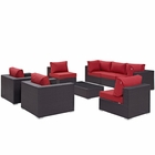 Modway Convene 8 Piece Outdoor Patio Wicker Rattan Sectional Set in Espresso Red MY-EEI-2203-EXP-RED-SET
