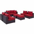 Modway Convene 8 Piece Outdoor Patio Wicker Rattan Sectional Set in Espresso Red MY-EEI-2204-EXP-RED-SET