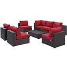 Modway Convene 8 Piece Outdoor Patio Wicker Rattan Sectional Set in Espresso Red MY-EEI-2205-EXP-RED-SET