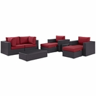 Modway Convene 8 Piece Outdoor Patio Wicker Rattan Sectional Set in Espresso Red MY-EEI-2206-EXP-RED-SET