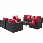 Modway Convene 8 Piece Outdoor Patio Wicker Rattan Sectional Set in Espresso Red MY-EEI-2368-EXP-RED-SET