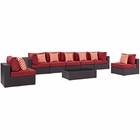 Modway Convene 8 Piece Outdoor Patio Wicker Rattan Sectional Set in Espresso Red MY-EEI-2370-EXP-RED-SET