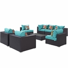 Modway Convene 8 Piece Outdoor Patio Wicker Rattan Sectional Set in Espresso Turquoise MY-EEI-2368-EXP-TRQ-SET