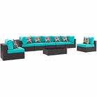 Modway Convene 8 Piece Outdoor Patio Wicker Rattan Sectional Set in Espresso Turquoise MY-EEI-2370-EXP-TRQ-SET