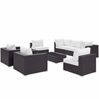 Modway Convene 8 Piece Outdoor Patio Wicker Rattan Sectional Set in Espresso White MY-EEI-2203-EXP-WHI-SET