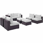 Modway Convene 8 Piece Outdoor Patio Wicker Rattan Sectional Set in Espresso White MY-EEI-2204-EXP-WHI-SET