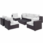 Modway Convene 8 Piece Outdoor Patio Wicker Rattan Sectional Set in Espresso White MY-EEI-2205-EXP-WHI-SET