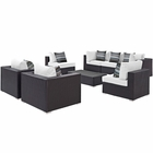 Modway Convene 8 Piece Outdoor Patio Wicker Rattan Sectional Set in Espresso White MY-EEI-2368-EXP-WHI-SET
