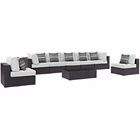 Modway Convene 8 Piece Outdoor Patio Wicker Rattan Sectional Set in Espresso White MY-EEI-2370-EXP-WHI-SET