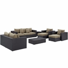 Modway Convene 9 Piece Outdoor Patio Wicker Rattan Sofa Set in Espresso Mocha MY-EEI-2161-EXP-MOC-SET