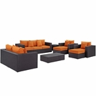 Modway Convene 9 Piece Outdoor Patio Wicker Rattan Sofa Set in Espresso Orange MY-EEI-2161-EXP-ORA-SET