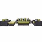 Modway Convene 9 Piece Outdoor Patio Wicker Rattan Sofa Set in Espresso Peridot MY-EEI-2354-EXP-PER-SET