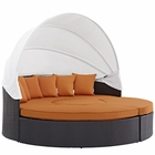 Modway Convene Canopy Outdoor Patio Wicker Rattan Daybed in Espresso Orange MY-EEI-2173-EXP-ORA-SET