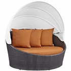 Modway Convene Canopy Outdoor Patio Wicker Rattan Daybed in Espresso Orange MY-EEI-2175-EXP-ORA