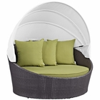 Modway Convene Canopy Outdoor Patio Wicker Rattan Daybed in Espresso Peridot MY-EEI-2175-EXP-PER