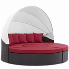 Modway Convene Canopy Outdoor Patio Wicker Rattan Daybed in Espresso Red MY-EEI-2173-EXP-RED-SET