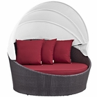 Modway Convene Canopy Outdoor Patio Wicker Rattan Daybed in Espresso Red MY-EEI-2175-EXP-RED
