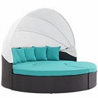 Modway Convene Canopy Outdoor Patio Wicker Rattan Daybed in Espresso Turquoise MY-EEI-2173-EXP-TRQ-SET