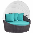 Modway Convene Canopy Outdoor Patio Wicker Rattan Daybed in Espresso Turquoise MY-EEI-2175-EXP-TRQ