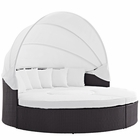 Modway Convene Canopy Outdoor Patio Wicker Rattan Daybed in Espresso White MY-EEI-2173-EXP-WHI-SET