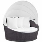 Modway Convene Canopy Outdoor Patio Wicker Rattan Daybed in Espresso White MY-EEI-2175-EXP-WHI