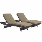 Modway Convene Chaise Outdoor Patio Upholstered Fabric Set of 2 in Espresso Mocha MY-EEI-2428-EXP-MOC-SET