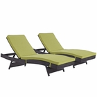 Modway Convene Chaise Outdoor Patio Upholstered Fabric Set of 2 in Espresso Peridot MY-EEI-2428-EXP-PER-SET