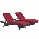 Modway Convene Chaise Outdoor Patio Upholstered Fabric Set of 2 in Espresso Red MY-EEI-2428-EXP-RED-SET