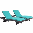 Modway Convene Chaise Outdoor Patio Upholstered Fabric Set of 2 in Espresso Turquoise MY-EEI-2428-EXP-TRQ-SET