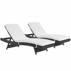 Modway Convene Chaise Outdoor Patio Upholstered Fabric Set of 2 in Espresso White MY-EEI-2428-EXP-WHI-SET