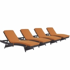 Modway Convene Chaise Outdoor Patio Upholstered Fabric Set of 4 in Espresso Orange MY-EEI-2429-EXP-ORA-SET