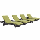 Modway Convene Chaise Outdoor Patio Upholstered Fabric Set of 4 in Espresso Peridot MY-EEI-2429-EXP-PER-SET