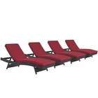 Modway Convene Chaise Outdoor Patio Upholstered Fabric Set of 4 in Espresso Red MY-EEI-2429-EXP-RED-SET