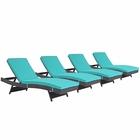 Modway Convene Chaise Outdoor Patio Upholstered Fabric Set of 4 in Espresso Turquoise MY-EEI-2429-EXP-TRQ-SET